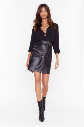 Nasty Gal Womens That's a Wrap Faux Leather Zip Mini Skirt - black - 6