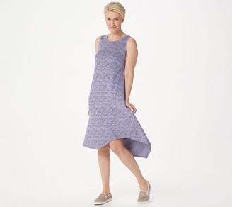 Logo By Lori Goldstein LOGO by Lori Goldstein Jacquard Tank Dress with Asymmetric Hem