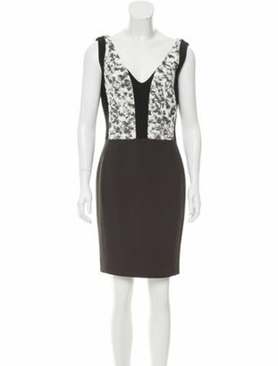 Narciso Rodriguez V-Neck Jacquard Dress Black