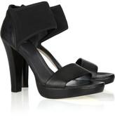 Stretch-cuff leather sandals