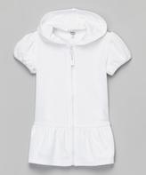 KensieGirl White Puff-Sleeve Hooded Cover-Up - Toddler & Girls
