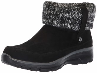 Skechers Women's Easy Going-Heighten Ankle Boots (Black Microfiber/Knit Blk) 2.5 (35.5 EU)