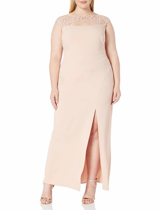 Marina Women's Plus Size Long Knit Gown with Lace Bodice