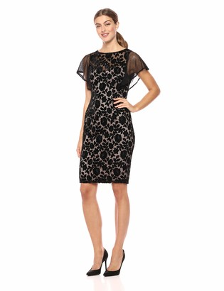 Adrianna Papell Women's Flutter Sleeve Floral Velvet Short Dress
