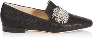 Jimmy Choo JAIDA FLAT Black Lurex Square Toe Slippers with Crystal Firework Piece