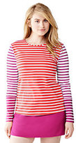 Classic Women's Plus Size Long Swim Tee Rash Guard-Coral Bliss/Cerise Pink Stripe