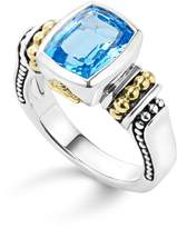 Lagos 18K Gold and Sterling Silver Caviar Color Small Ring with Swiss Blue Topaz