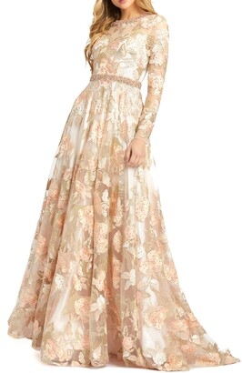 Mac Duggal Floral Long Sleeve A-Line Gown