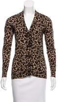 Tory Burch Leopard Print Wool Cardigan