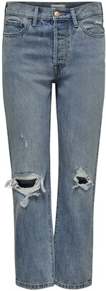 Only Fine Ripped High Waist Straight Leg Jeans
