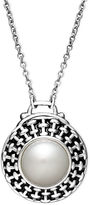 Honora Style Cultured Freshwater Pearl Basket Weave Pendant Necklace in Sterling Silver (10mm)