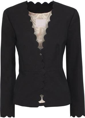 Rebecca Taylor Scalloped Grain De Poudre Cotton-blend Jacket