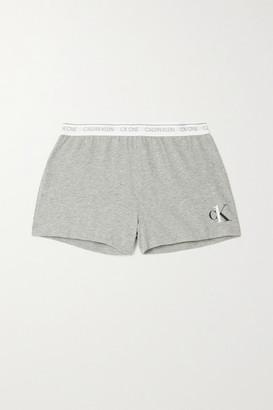 Calvin Klein Underwear Printed Melange Cotton-blend Jersey Shorts - Gray