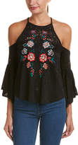 Flying Tomato Lace Cold-Shoulder Top