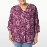 NYDJ Katazome Printed Pleat Back Blouse In Plus