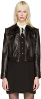Miu Miu Black Leather Ruffle Jacket