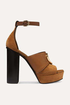 Chloé C Logo-embellished Leather And Suede Platform Sandals - Tan