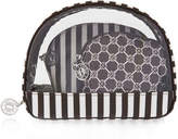 Henri Bendel Brown & White Cosmetic Case Trio Set