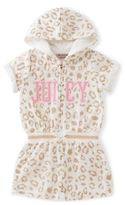 """Juicy Couture Size 3T Leopard Print """"Juicy"""" Hooded Terry Romper in White/Gold"""
