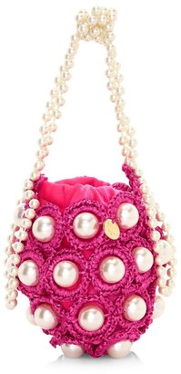 Alameda Turquesa Mini Hana Faux Pearl Woven Top Handle Bag