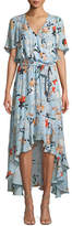 Parker Demi Floral-Print Silk Wrap Dress