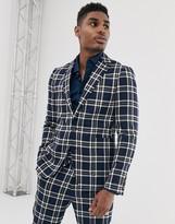 Devils Advocate skinny fit blue check suit jacket