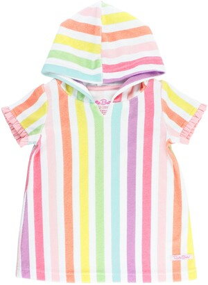 RuffleButts Rainbow Stripe Hooded Cover-Up Tunic