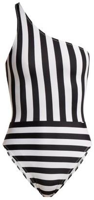 Norma Kamali Mio Striped One-shoulder Swimsuit - Womens - Black White