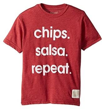 Original Retro Brand The Kids Chips Salsa Repeat Short Sleeve Heather Tee (Big Kids) (Heather Dark Red) Boy's T Shirt