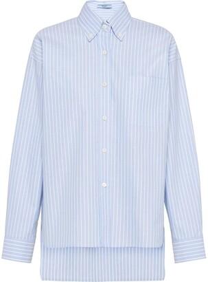 Prada Striped High Low Hem Shirt
