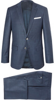 HUGO BOSS Blue Hutson Ganda Slim-fit Super 120s Virgin Wool Three-piece Suit