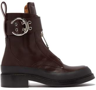 Chloé Roy Buckled Leather Boots - Womens - Burgundy