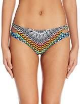 Jessica Simpson Women's Dakota Placement Reversible Split Side Hipster Bikini Bottom