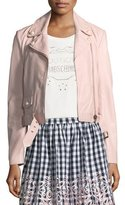 Moschino Pearl-Trim Leather Moto Jacket