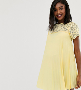 ASOS DESIGN Maternity lace and pleat detail swing mini dress