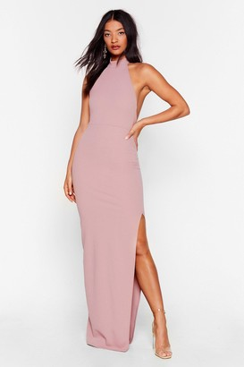 Nasty Gal Womens Slit While You're Ahead Halter Maxi Dress - Pink - 10