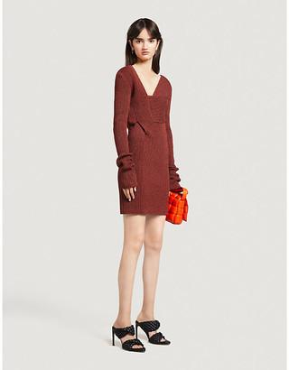 Bottega Veneta Wrap-over ribbed knitted mini dress