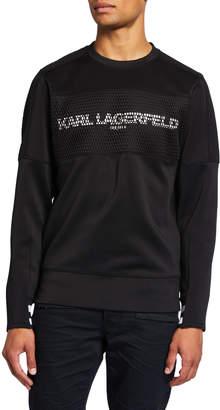 Karl Lagerfeld Paris Men's Crewneck Logo Sweatshirt