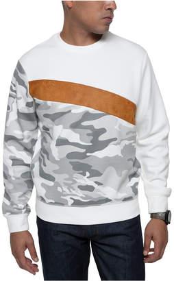 Sean John Men Camo Sweatshirt With Faux Suede Stripe