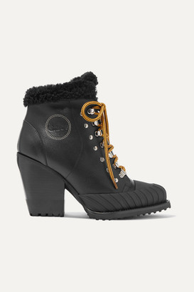 Chloé Rylee Shearling-lined Leather Ankle Boots - Black