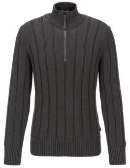 Wide-rib zip-neck sweater in mercerized cotton