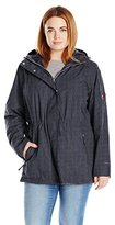 Free Country Women's Plus Size Radiance Reversible Anorak to Butter Pile Micro Print