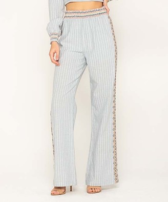 Miss Me Women's Casual Pants LT - Light Blue Stripe Embroidered Palazzo Pants - Women