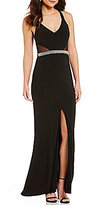 Jodi Kristopher Beaded X-Back Embellished Waist Long Dress