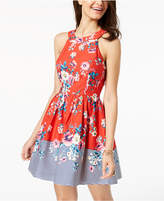 Trixxi Juniors' Printed Lace-Up Fit & Flare Dress