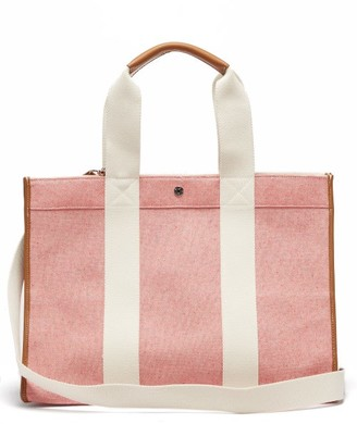 Rue De Verneuil - Traveller L Leather-trimmed Canvas Tote Bag - Womens - Red Multi