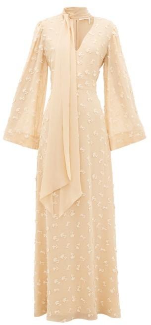 Thumbnail for your product : Chloé Floral Applique Silk-georgette Dress - Cream