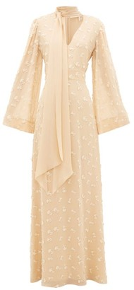 Chloé Floral Applique Silk-georgette Dress - Cream