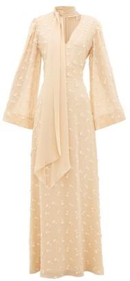 Chloé Floral Applique Silk-georgette Dress - Womens - Cream