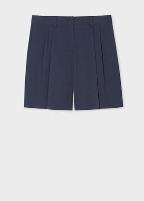 Paul Smith Women's Navy Seersucker Cotton-Stretch Shorts